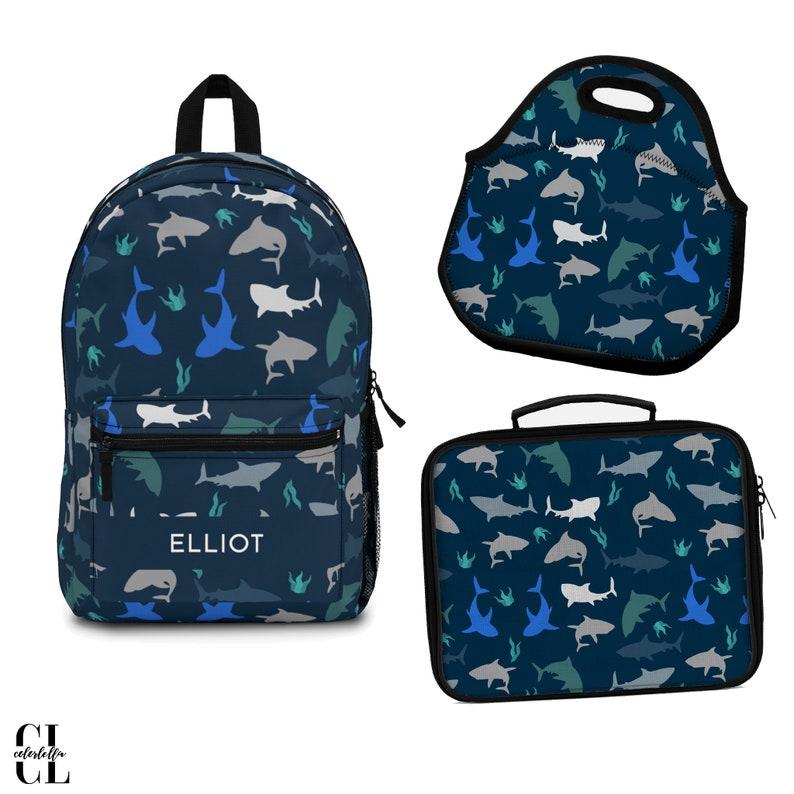 Shark backpack boy shark blue print backpack under the sea image 0