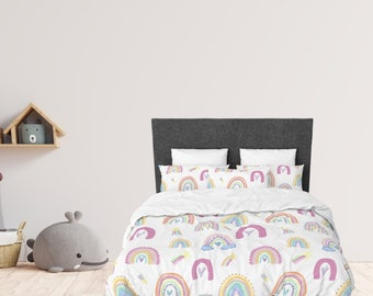 Girl Rainbow Bedding, Rainbows comforter and bedding set, kids room decor, nursery decor, twin personalized girl room, gift for kid, toddler