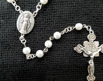 Rosary - Handmade Glass Imitation Pearl Rosary