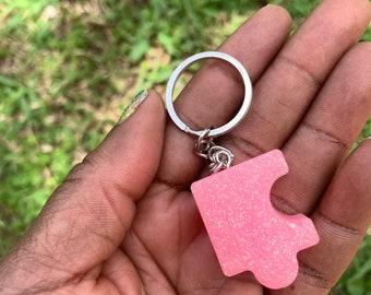 Epoxy Resin Pink Glitter Puzzle Key Chain