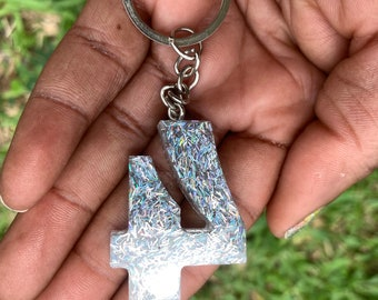 Epoxy Resin NUMBER Key Chain