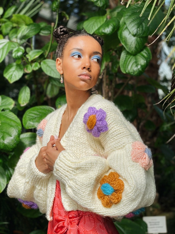Floral Handmade Sweater for Women | Bloom Warm Soft Cardigan | Designer Cardigan for Women | Oversized Sweater Women| Hand Knit Sweater