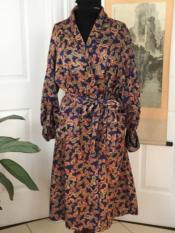 Mens Vintage 70's Paisley Satin Robe