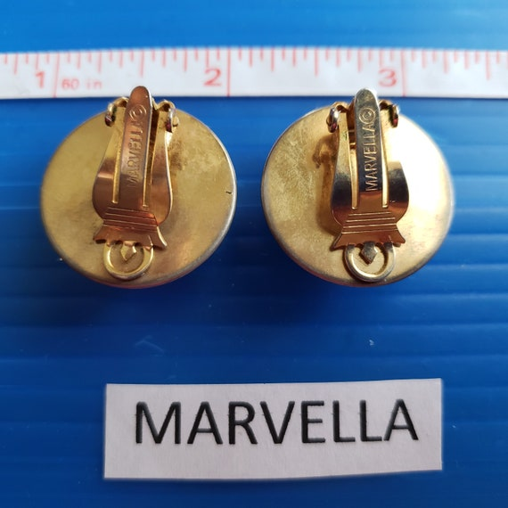Signed Marvella Pearl Button Vintage Earrings - image 2