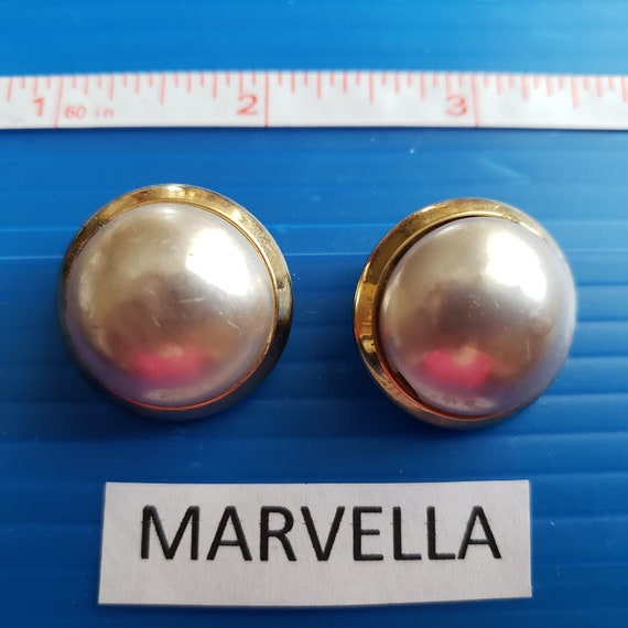 Signed Marvella Pearl Button Vintage Earrings - image 1