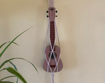 Natural macrame ukulele hanger, music home decor, boho living room wall decor, eco friendly gifts for music lover, ukulele sling, wall mount