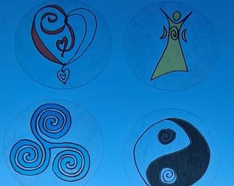 Water Blessing Sticker Set of 4 - Clear Background, Heart, YinYang, Selene, Triskel