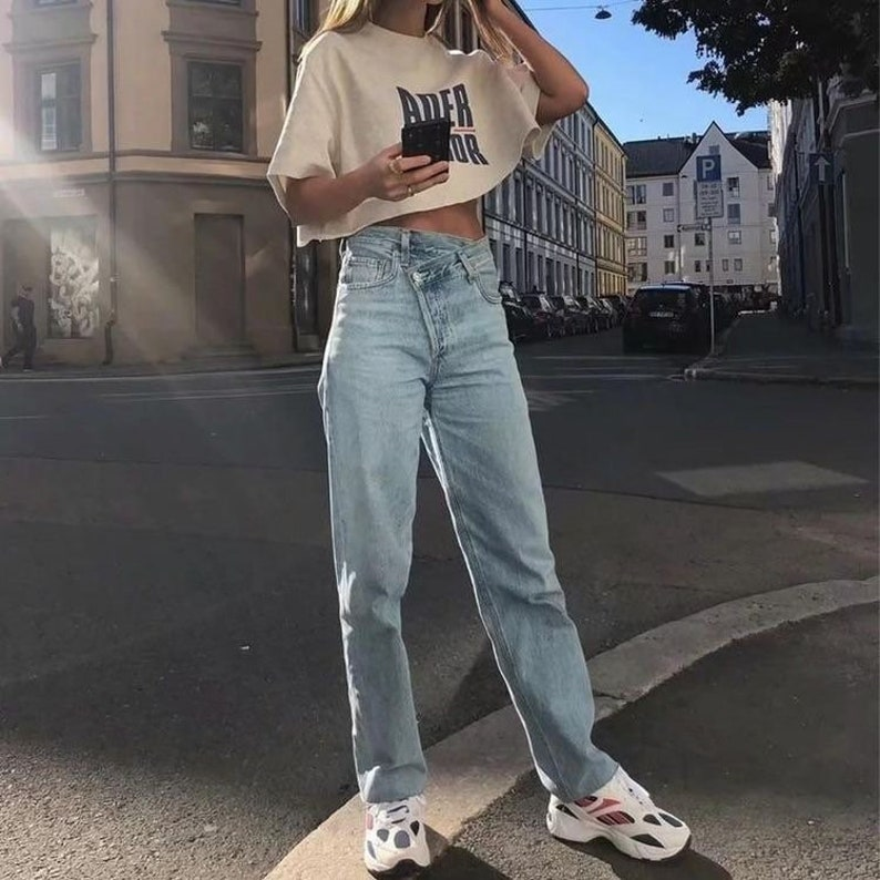Y2K Baggy Jeans Asymmetric Waistline Straight Cut Leg Jeans for Women Aesthetic High waisted Tapered Denim Jeans 90s Retro Princess Polly