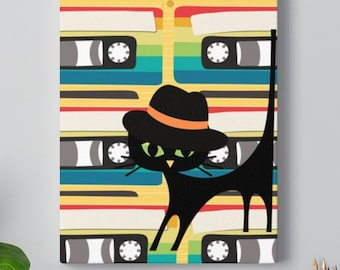 Hipster Retro Atomic Cat Cassette Music Mid Mod Canvas Gallery Wraps