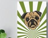 Fawn Pug Retro Cool Cartoon Face Mid Century Modern Canvas Gallery Wrap