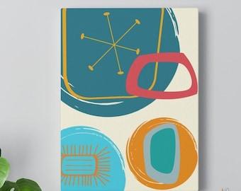 Retro Atomic Mid Century Modern Groovy Geometric MCM Home Decor Canvas Gallery Wrap