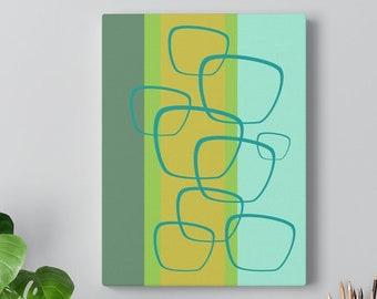 Retro Jade Apple Green, Geo Pattern Mid Century Modern Canvas Gallery Wrap
