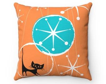 Retro Atomic Cat Orange, White, Turquoise Blue Abstract Starburst Mid Century Modern Pillow And Insert