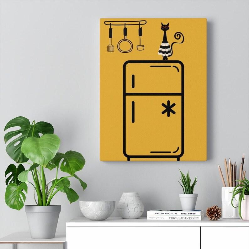 Mustard Yellow Retro Black Cat Kitchen Dining Room Mid Century Modern Canvas Gallery Wrap