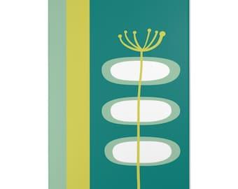 Retro Livingroom, Bedroom Geo Flower Green, Mint, Teal Blue Mid Century Modern Area Rugs