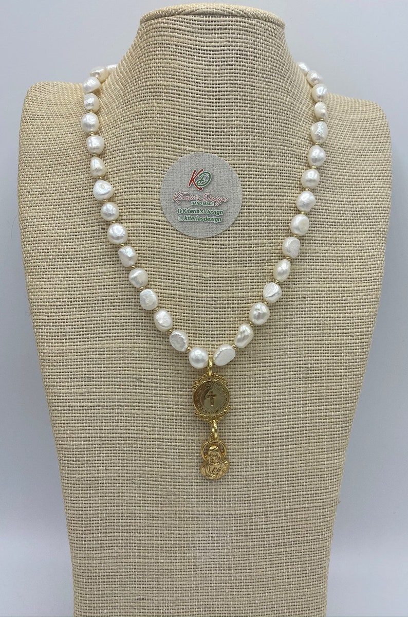 18 Semi-Precious Mother of Pearl Perfect Gift for Her Madre Perola Bead Necklace with Gold Religious Pendant Optional