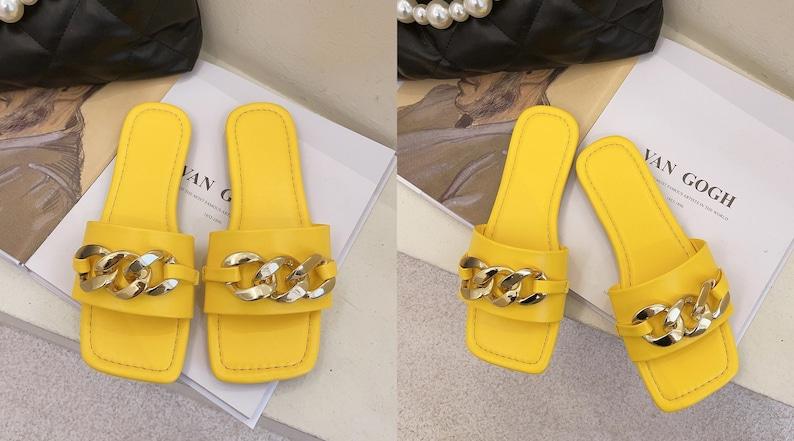 Soft Summer Sandals Sandals Women Fashion Design Sandals Metal Chain Sandals Soft Slippers Fashion Women Sandals Sandals at Beach