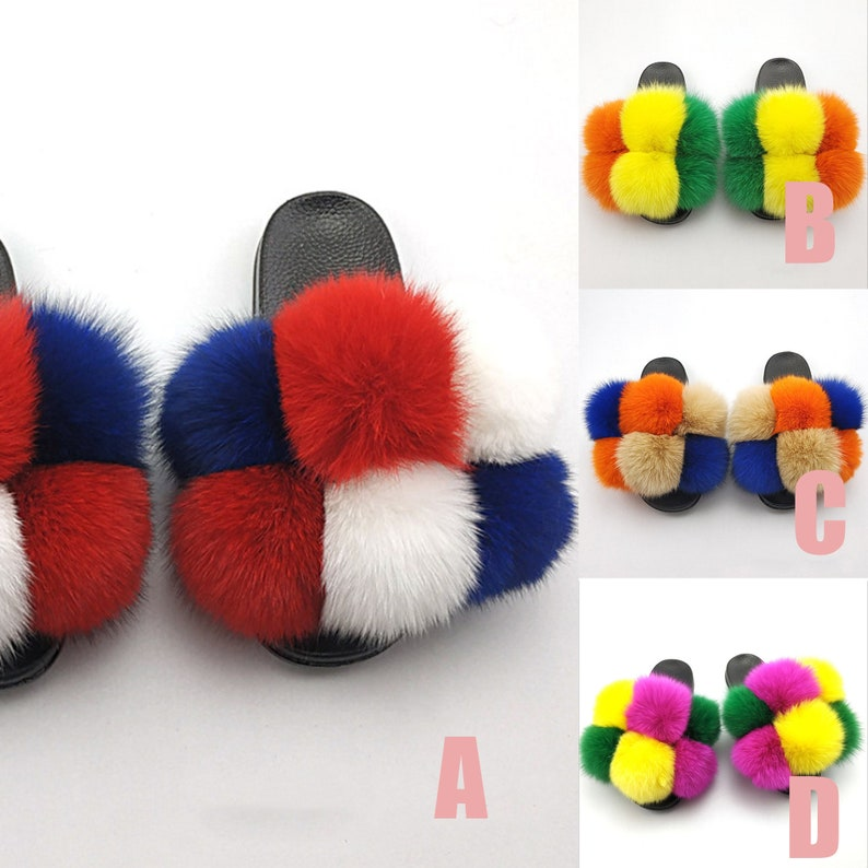 Real Natural Fur Slides Rainbow Color Slippers Fluffy Fur Slippers Multicolor Fox Fur Slippers Real Fox Fur Sandals Colorful Slippers