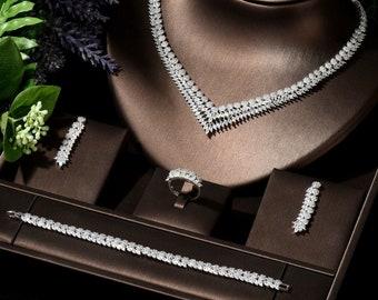 New Jewelry Set,CZ Set,Silver Set,Swarovski Set,Jewelry Set,Luxury Necklace Set,Wedding Set,Bridal Set,Bridal Accessories,Christmas Gift
