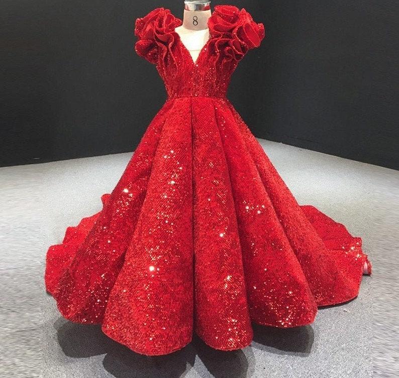 Red Dress,Flower Girl Dress,Sequined Dress,Long Dress,Custom Made Dress,Ball Gown,Elegant Dress,Birthday Dress,Kids Dress,Birthday Present
