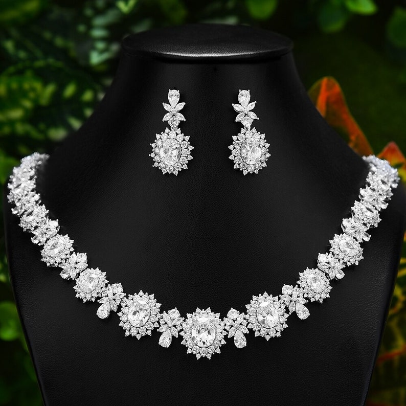Luxury 2PCS Set,Jewelry Set,Wedding Set,Full Cubic Zircon Set,Bridal Jewelry Set,Wedding Set,Christmas Gift,Birthday Gift