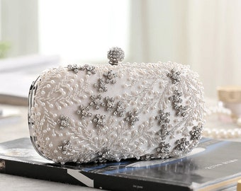 Embroidered Clutch,Evening Bag,Beaded Clutch,Handmade Bag,Wedding Clutch,Bridal Clutch,Evening Clutch,Vintage Clutch,Pearl Clutch,Present