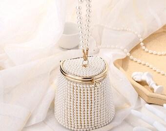 Bucket Design Clutch,Evening Bag,Beaded Clutch,Handmade Bag,Wedding Clutch,Bridal Clutch,Evening Clutch,Vintage Clutch,Gift,Pearl Clutch