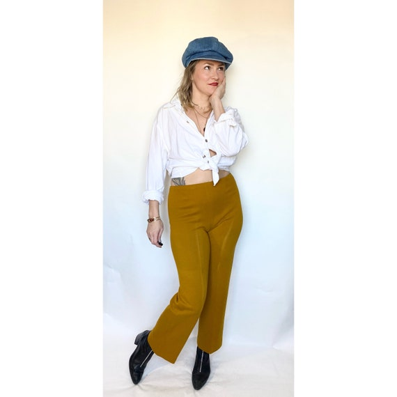 Mustard yellow polyester pants, 70s pants, high wa