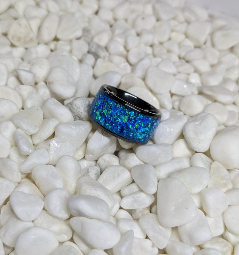 Extra Wide Blue Ice Fire Opal Inlay Iridescent Glow Ring 10mm wide Please choose Ring Size Custom