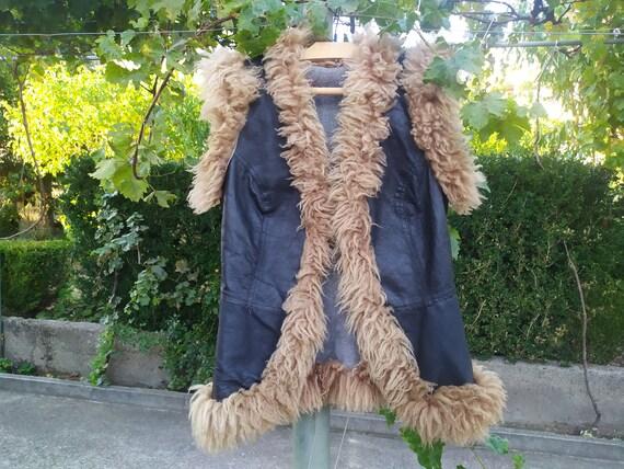 Vintage Leather Folk Vest, Vintage Women's Vest, R