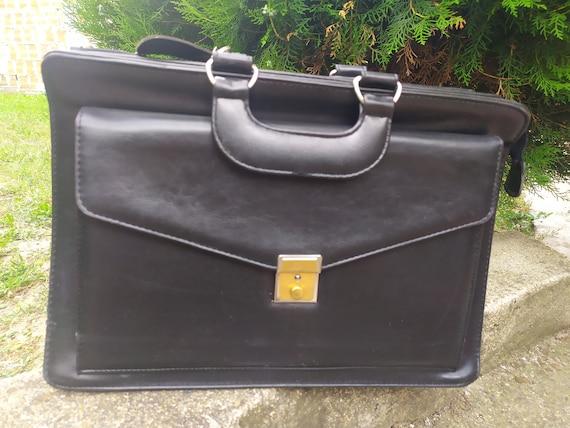 Office Bag, Vintage Leather Black Men's Bag, Offic