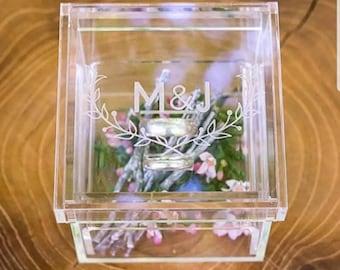 Personalised Clear Acrylic Wedding Ring Box Keepsake Ring Pillow RingBox Mr Mrs Proposal Rustic Jewellery Box Printed Bride Groom Gift