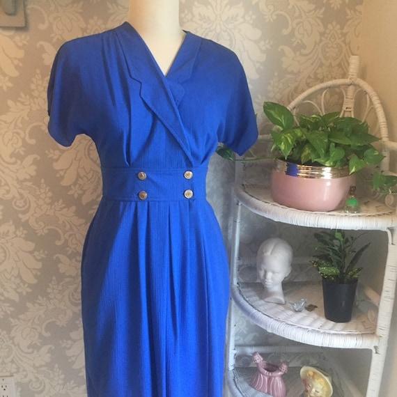 Vintage 1980's Cobalt Blue Shirt Dress