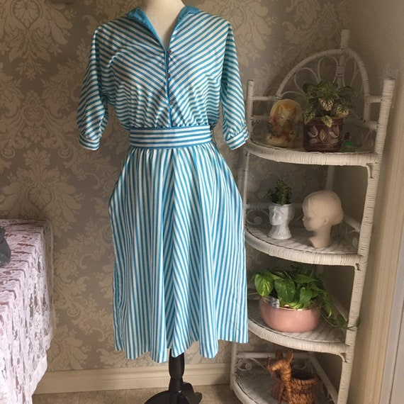 1980's Striped Cotton Dress with Pockets
