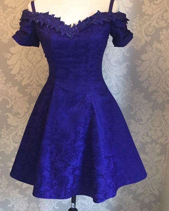 Vintage Brocade 1980's Prom Dress