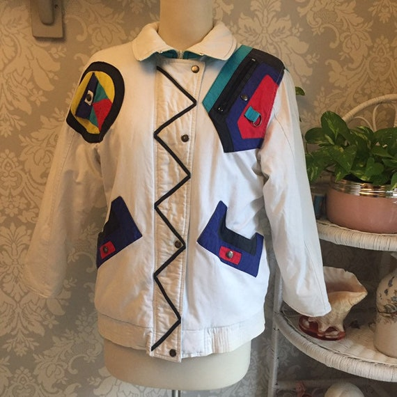 1980's Vintage Memphis Group Style Winter Jacket.