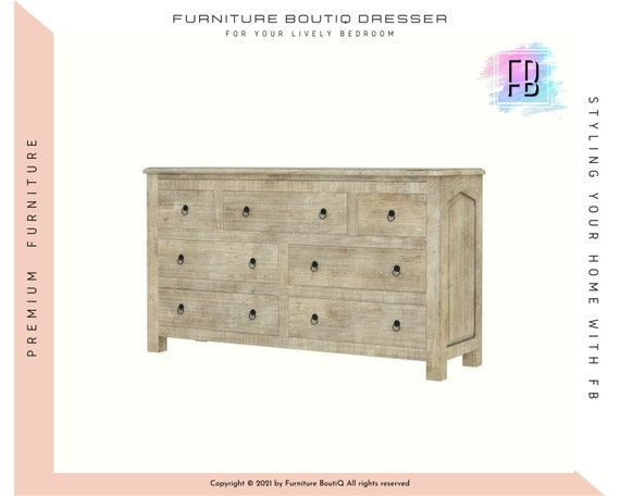 Furniture Boutiq Solid Mango Wood White Bedroom Dresser With 7 Etsy