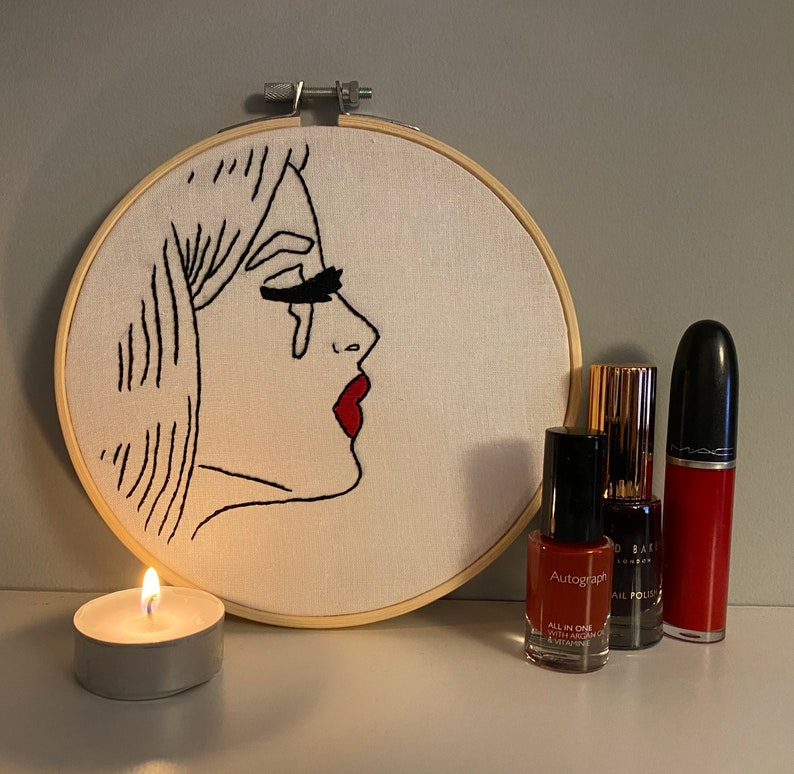 Embroidered Pop Art Pop Art Gift. Crying Girl Embroidery Textile Pop Art Framed Pop Art Girl