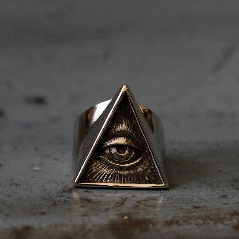 Mens Stainless Steel Biker Ring Skull Silver Color Freemason Illuminati Triangle Masonic Rings Punk Masonic Jewelry
