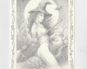 Halloween, Samain, Witch, Witch Broom, Ancient Postcard, Joel Bernabel, S as Witch, Mary of the Woods, Society Hat
