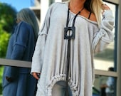 Asimetric Woman Tunic Gothic Woman Top Loose Top Oversize Tunic One Size Tunic Designer Handmade Clothes