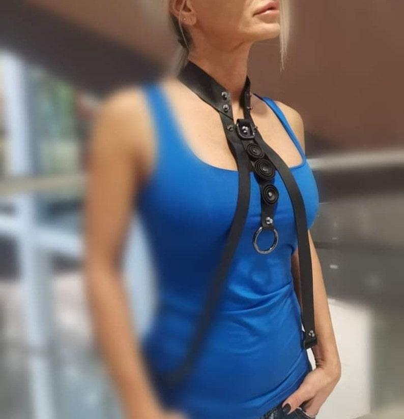 Handmade Long Leather Necklace Extravagant NecklacAvant-garde Leather Necklace Designer Jewelry e