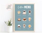 Coffee Menu Kitchen Wall Art Print Coffee Guide Print Kitchen Decor Coffee Gifts Coffee Lover Gift Unframed Kitchen Poster
