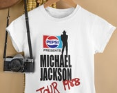 Michael Jackson Tshirt, Michael Jackson BAD Pepsi Concert Tour 1988 VTG White T Shirt