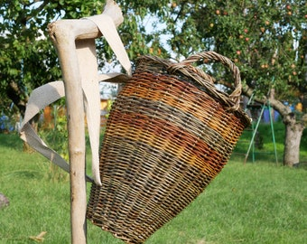 Wicker backpack for  woman | Wicker basket from grazing | Willow grazing backpack with handles