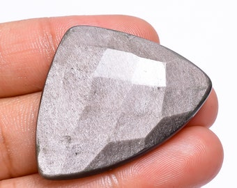 Natural Silver Sheen Obsidian Gemstone Smooth Oval Shape Cabochon 38x29x6 MM Size Best High Quality Loose Gemstone For Making Jewelry.