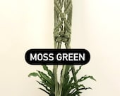 GREEN COLLECTION Macrame Plant Hanger in forest green moss green olive green boho indie rustic home decor indoor plants