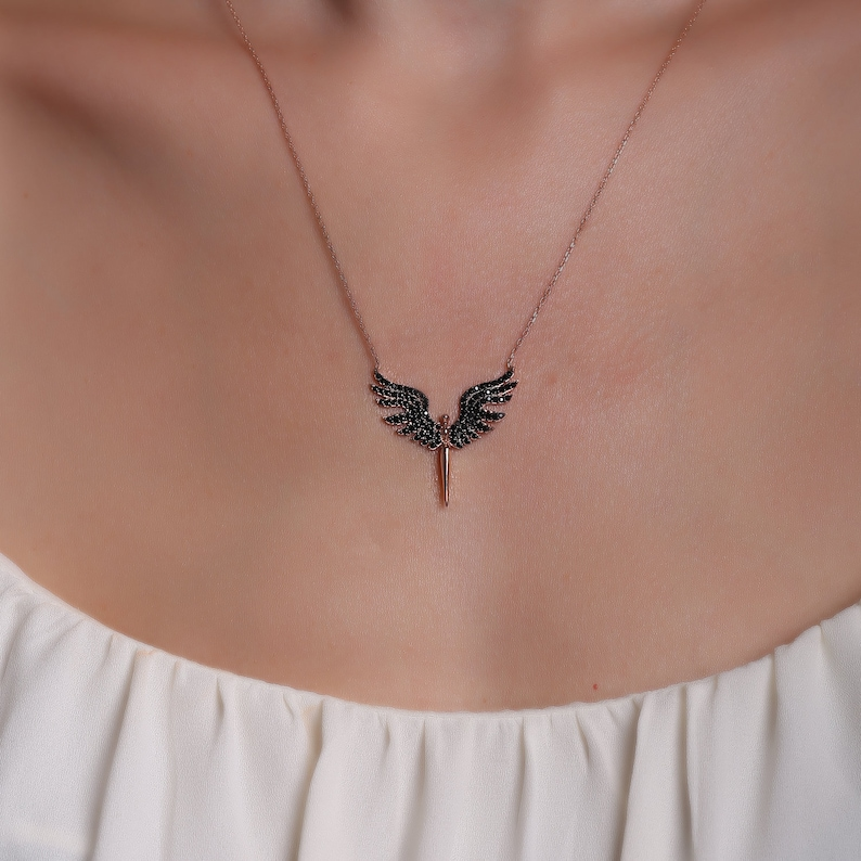 925 Sterling Silver Angel Wing Shaped Necklace in Black Colour