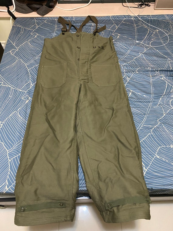WW2 40s US Navy Olive Green Wool Lined Deck Pants