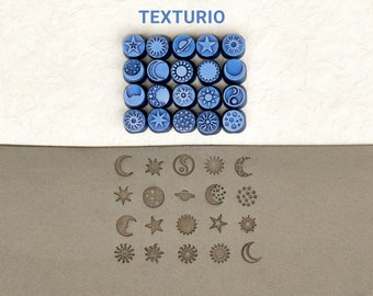 Texturio pottery stamps Soap stamp Clay sculpting pottery tools Clay texture stamps Polymer clay tools Roboto numerals 6 mm stamp set